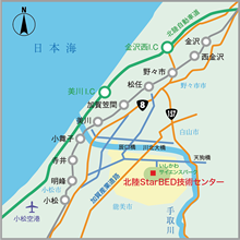 Wide area map of Hokuriku StarBED Technical Center