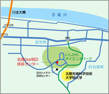 Map of the area around Ishikawa Science Park